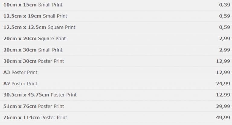 Zenfolio-Print-Order-Preise