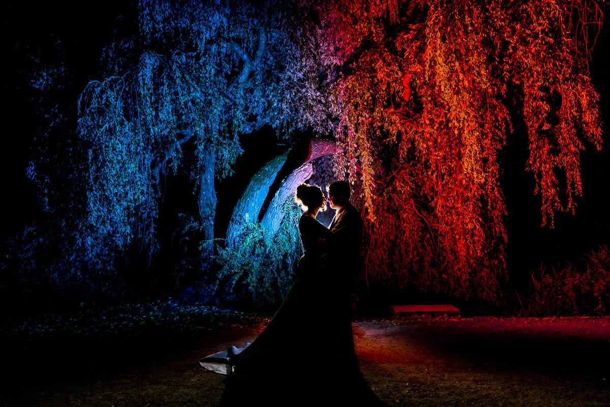 Hochzeitsportrait bei Nacht